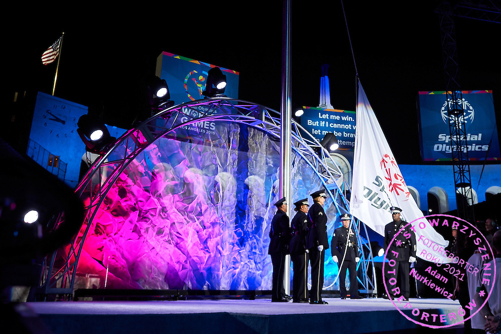Presentation of the Special Olympics Flag during opening ceremony of the Special Olympics World Games Los Angeles 2015 at the Los Angeles Coliseum Stadium on July 25, 2015 in Los Angeles, USA.<br /> USA, Los Angeles, July 25, 2015<br /> <br /> Picture also available in RAW (NEF) or TIFF format on special request.<br /> <br /> For editorial use only. Any commercial or promotional use requires permission.<br /> <br /> Adam Nurkiewicz declares that he has no rights to the image of people at the photographs of his authorship.<br /> <br /> Mandatory credit:<br /> Photo by &copy; Adam Nurkiewicz / Mediasport