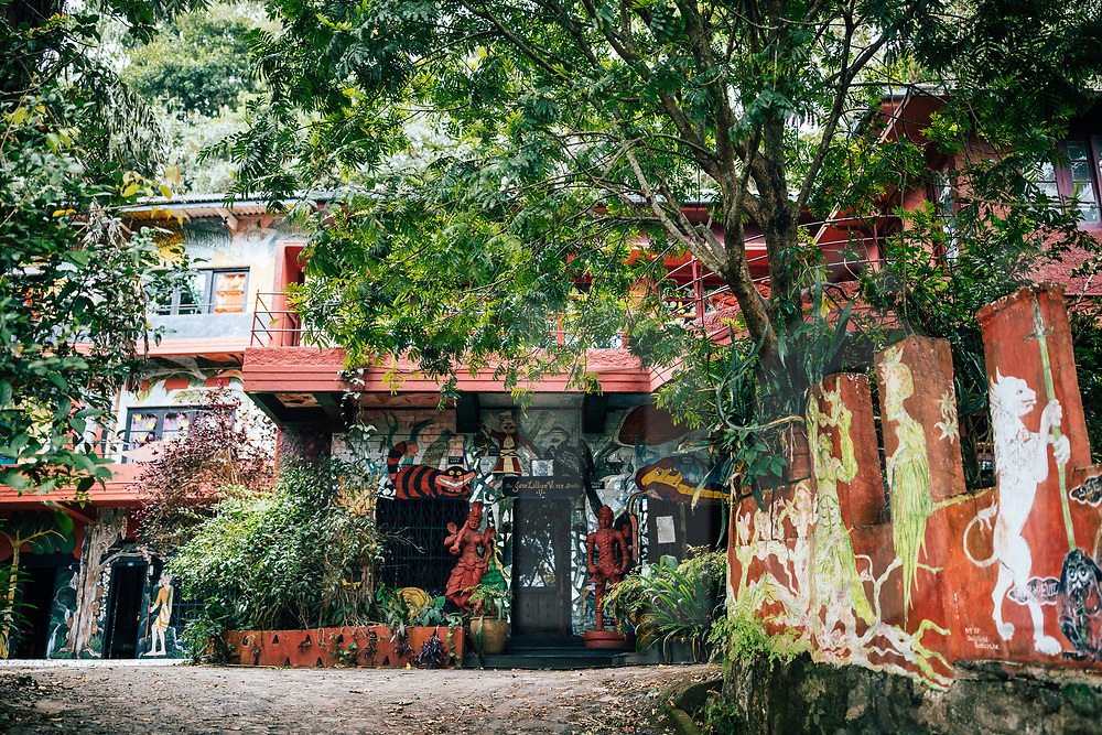 The entryway to Helga's Folly, an old hotel owned by an eccentric artist in the hills of Kandy, Sri Lanka, Asia