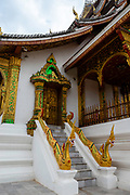 Exterior view of Haw Pha Bang Sanctuary on the grounds of the Royal Palace, Luang Prabang, Laos.