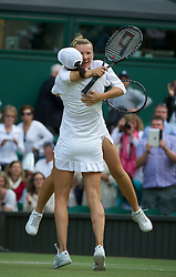 LONDON, ENGLAND - Saturday, July 2, 2011: Kveta Peschke (CZE) celebrates with partner Katarina Srebotnik (SLO) after winning the Ladies' Doubles Final match on day twelve of the Wimbledon Lawn Tennis Championships at the All England Lawn Tennis and Croquet Club. (Pic by David Rawcliffe/Propaganda)