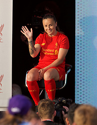LIVERPOOL, ENGLAND - Monday, May 9, 2016: Liverpool's Natasha Harding at the launch of the New Balance 2016/17 Liverpool FC kit at a live event in front of supporters at the Royal Liver Building on Liverpool's historic World Heritage waterfront. (Pic by David Rawcliffe/Propaganda)