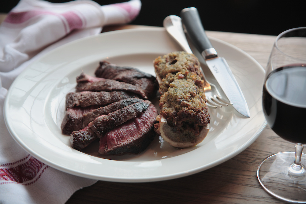 Flat Iron Steak with Bone Marrow, HIX Restaurant, 66-70 Brewer St, Soho, London, United Kingdom<br /> CREDIT: Vanessa Berberian for The Wall Street Journal<br /> HIX