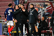 A pat on the back makes it all worth while as Scot Gemmill congratulates hat trick scorer Fraser Hornby during the U21 UEFA EUROPEAN CHAMPIONSHIPS match between U21 Scotland and U21 Andorra at Tynecastle Stadium, Gorgie, Scotland on 6 September 2018.