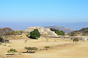 Building IV at Monte Alban, with its enormous forecourt stretching out toward the Gran Plaza, Oaxaca, Mexico.