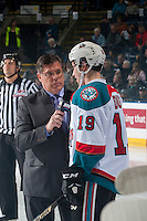KELOWNA, CANADA - FEBRUARY 17: Broadcaster Rob Faulds interviews Dillon Dube #19 of the Kelowna Rockets on the ice at the start of the game against the Spokane Chiefs on February 17, 2017 at Prospera Place in Kelowna, British Columbia, Canada.  (Photo by Marissa Baecker/Shoot the Breeze)  *** Local Caption ***