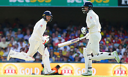 England's Mark Stoneman ( left ) and James Vince in action during day one of the Ashes Test match at The Gabba, Brisbane.