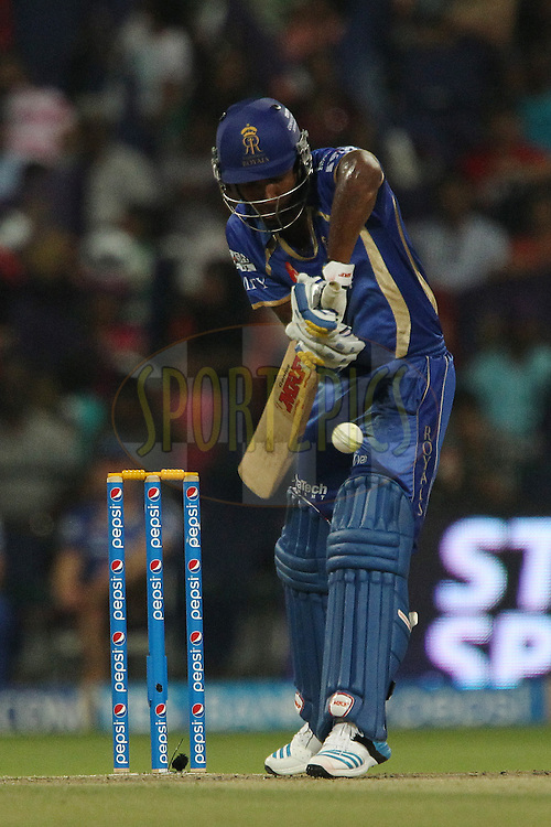 Sanju Samson of the Rajatshan Royals during match 19 of the Pepsi Indian Premier League 2014 Season between The Kolkata Knight Riders and the Rajasthan Royals held at the Sheikh Zayed Stadium, Abu Dhabi, United Arab Emirates on the 29th April 2014<br /> <br /> Photo by Ron Gaunt / IPL / SPORTZPICS