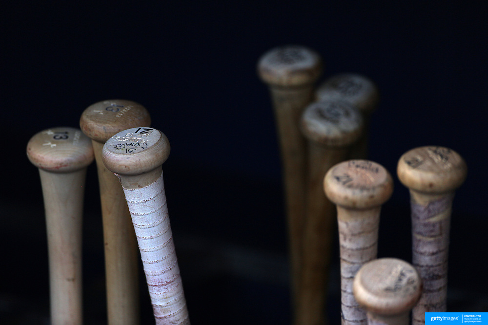 Baseball bats in the bat rack of the Saint Louis Cardinals dugout showing the bats of Allen Craig, number 21 during the New York Mets V Saint Louis Cardinals Baseball game at Citi Field, Queens, New York. USA. 12th June2013. Photo Tim Clayton
