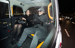 © London News Pictures. 28/10/2012. London, UK.  Former pop star Gary Glitter (right) arriving back at his home by black cab  in London after being arrested on suspicion of sex offences by police investigating Jimmy Savile abuse claims on October 28, 2012 . Photo credit: Ben Cawthra/LNP