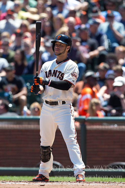 SAN FRANCISCO, CA - MAY 26: Gregor Blanco #7 of the San Francisco Giants at bat against the Colorado Rockies during the second inning at AT&T Park on May 26, 2013 in San Francisco, California. The San Francisco Giants defeated the Colorado Rockies 7-3. (Photo by Jason O. Watson/Getty Images) *** Local Caption *** Gregor Blanco