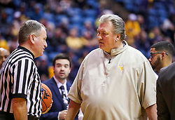 Dec 22, 2018; Morgantown, WV, USA; West Virginia Mountaineers head coach Bob Huggins argues a call during the first half against the Jacksonville State Gamecocks at WVU Coliseum. Mandatory Credit: Ben Queen-USA TODAY Sports