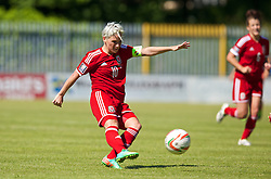 HAVERFORDWEST, WALES - Saturday, June 14, 2014: Wales' captain Jessica Fishlock in action against Turkey during the FIFA Women's World Cup Canada 2015 Qualifying Group 6 match at the Bridge Meadow Stadium. (Pic by David Rawcliffe/Propaganda)