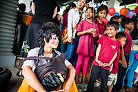 Phare Circus performers stage a special afternoon show for young students at the Shinta Mani hotel in Siem Reap, Cambodia.