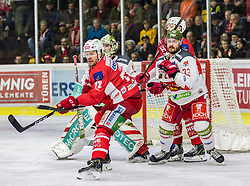22.03.2019, Stadthalle, Klagenfurt, AUT, EBEL, EC KAC vs HCB Suedtirol Alperia, Viertelfinale, 5. Spiel, im Bild Siim LIIVIK (EC KAC, #72), Jacob SMITH (HCB Suedtirol Alperia, #1), Stefano MARCHETTI (HCB Suedtirol Alperia, #23), Thomas HUNDERTPFUND (EC KAC, #27) // during the Erste Bank Icehockey 5th quarterfinal match between EC KAC and HCB Suedtirol Alperia at the Stadthalle in Klagenfurt, Austria on 2019/03/22. EXPA Pictures © 2019, PhotoCredit: EXPA/ Gert Steinthaler