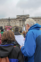 Extinction Rebellion campaigners came together in London for Rebellion Day 2. The protesters marched to Buckingham Palace where they laid down their coffin and read aloud a declaration of rebellion. The pro-people and planet group are calling on the Government to reduce carbon emissions to net zero by 2025 and to reduce consumption levels. London, 24 November 2018.