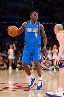30 October 2012: Guard (4) Darren Collison of the Dallas Mavericks dribbles the ball up the court against the Los Angeles Lakers during the first half of the Mavericks 99-91 victory over the Lakers at the STAPLES Center in Los Angeles, CA.