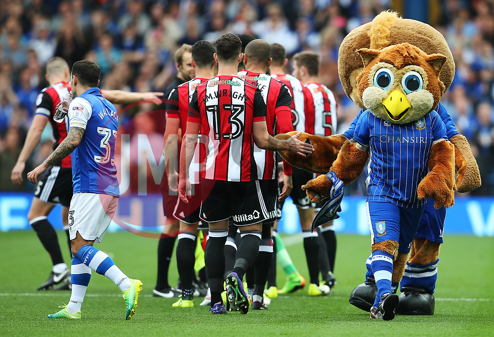 Sheffield Wednesday mascots Barney The Owl and Ozzie The Owl shake hands with the Sheffield United players - Mandatory by-line:  Matt McNulty/JMP - 24/09/2017 - FOOTBALL - Hillsborough - Sheffield, England - Sheffield Wednesday v Sheffield United - Sky Bet Championship
