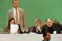 13 MAY 1999 - BIELEFELD, GERMANY:<br /> Kerstin Müller, B90/Grüne Fraktionsvorsitzende, Joschka Fischer, B90/Grüne, Bundesaußenminister, und Rezzo Schlauch, B90/Grüne Fraktionsvorsitzender, und der Schutz von Bodyguards auf der Bundesdelegiertenkonferenz von Bündnis 90/Die Grünen, Stadthalle<br /> Kerstin Mueller, Chairwomen of the green parlaimentary group, Joschka Fischer, Federal Minister of Foreign Affairs, and Rezzo Schlauch, Chairmen of the green parlaimentary group, are protected by bodyguards, conference of the german green party<br /> IMAGE: 19990513-01/04-04<br /> KEYWORDS: Parteitag, Farbe