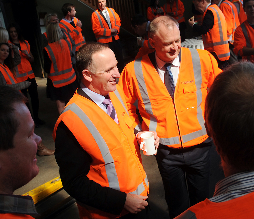 Prime Minister John Key visits Higgins Contracting, Palmerston North, New Zealand, Tuesday, September 09, 2014. Credit:SNPA / Ross Setford