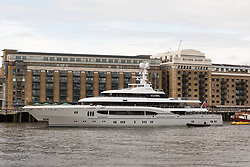 © Licensed to London News Pictures. 29/03/2018. London, UK. The Super-yacht Kismet on the River Thames in London. Kismet is 308 feet long and is owned by Pakistani-American billionaire Shahid Khan, who has reportedly made an £800 million bid to buy Wembley Stadium. Photo credit: Vickie Flores/LNP