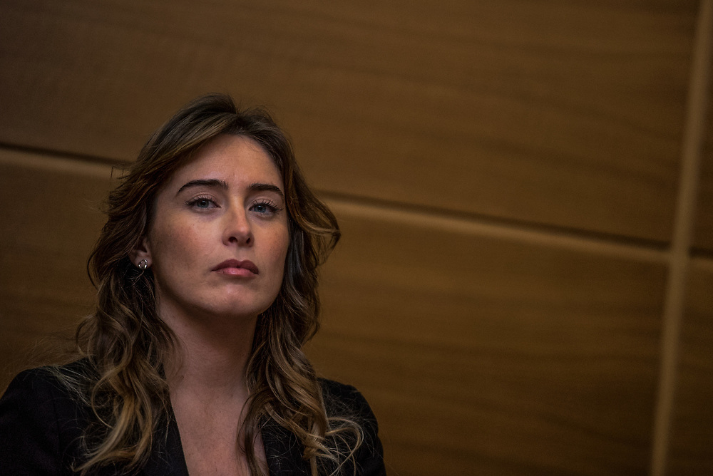 Milan, Italy - 29-01-2016: Minister for Constitutional Reforms and Relations with the Parliament, Maria Elena Boschi, looks into camera during a press conference.