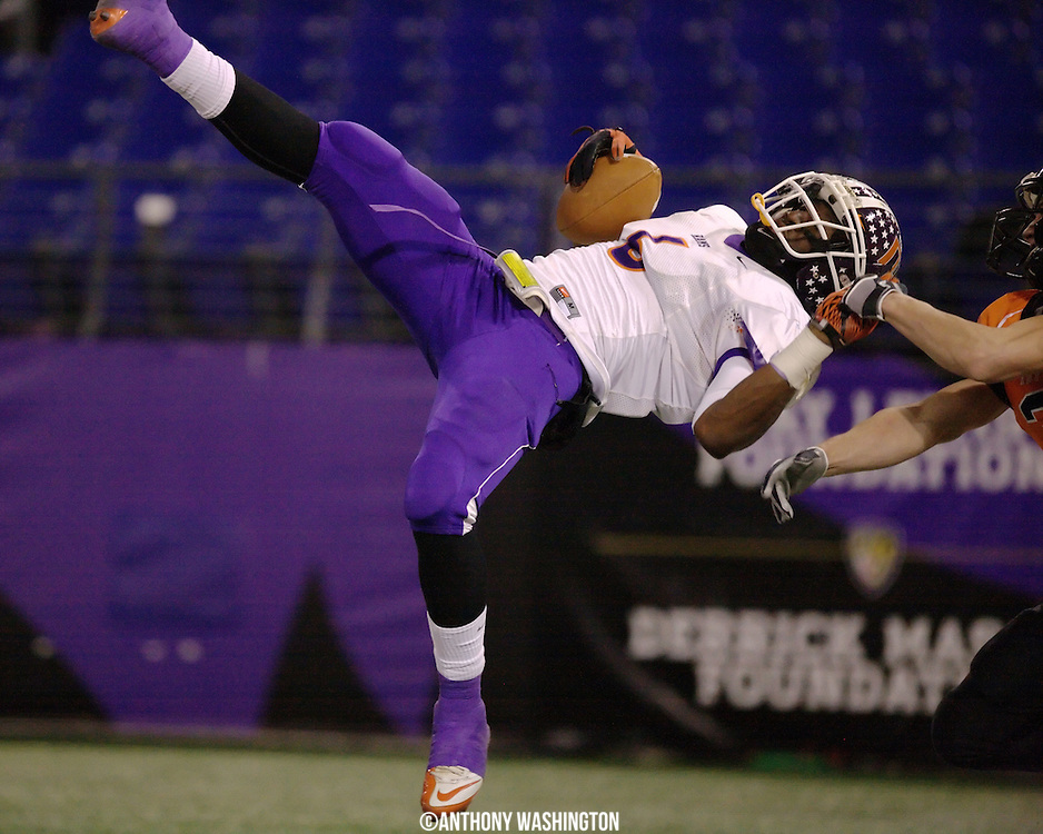 McDonough High School wide receiver Devante Gray makes a diving catch for a touchdown during the class 2A MPSSAA 2010 State Football Championship game at M&T Bank Stadium in Baltimore, MD on Saturday, December 4, 2010.