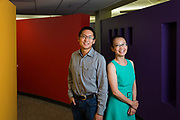 Ji Fang and Yibin Lin (left) of Liberio pose for a portrait at their office in Sunnyvale, California, on July 24, 2018. (Stan Olszewski for Silicon Valley Business Journal)