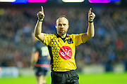 Referee Mike Adamson checks with the television match official during the 1872 Cup second leg Guinness Pro14 2019_20 match between Edinburgh Rugby and Glasgow Warriors at BT Murrayfield Stadium, Edinburgh, Scotland on 28 December 2019.