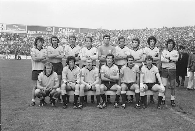 The Dublin team before the All Ireland Senior Gaelic Football Final Dublin v Kerry in Croke Park on the 26th September 1976. Dublin 3-08 Kerry 0-10.<br />