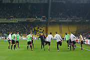Manchester United players in warm up during the Europa League match between Fenerbahce and Manchester United at the Ulker Stadium, Kadikoy, Turkey on 3 November 2016. Photo by Phil Duncan.