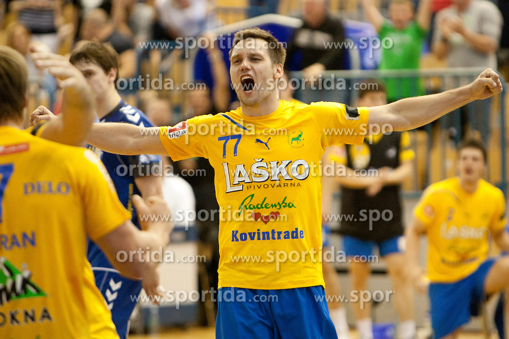 Luka Zvizej of Celje PL celebrates after handball match between RK Celje Pivovarna Lasko vs RK Cimos Koper in 9th Round of 1st NLB Leasing Champions league 2011/12, on May 19, 2012 in Arena Zlatorog, Celje, Slovenia. (Photo by Urban Urbanc / Sportida.com)
