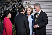 US President Bill Clinton welcomes Chinese Premier Zhu Rongji during the official arrival ceremony at the White House April 8, 1999 in Washington D.C.