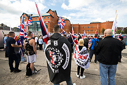 © Licensed to London News Pictures . 22/07/2017 . Rochdale , UK . Britain First hold a demonstration in Rochdale , opposed by anti-fascist groups . Britain First say they are highlighting concerns about child sexual exploitation in the town . Photo credit: Joel Goodman/LNP