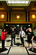 UK. London. The Pixies pose for photographs at The Brixton Academy, London, during their UK tour. From left: Kim Deal, Joey Santiago, Dave Lovering and Black Francis..Photo©Steve Forrest/Workers' Photos