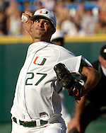 Miami starting pitcher Danny Gil pitched 6.2 innings and took the loss against Rice.  The Rice Owls defeated Miami 3-2 at the College World Series at Rosenblatt Stadium in Omaha, Nebraska, June 19, 2006.