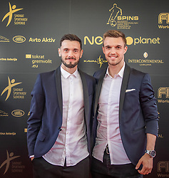 Amedej Vetrih and Zan Zuzek during SPINS XI Nogometna Gala 2019 event when presented best football players of Prva liga Telekom Slovenije in season 2018/19, on May 19, 2019 in Slovene National Theatre Opera and Ballet Ljubljana, Slovenia. ,Photo by Urban Meglic / Sportida