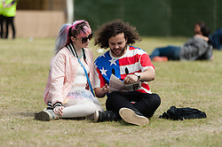 © Licensed to London News Pictures. 06/06/2015. London, UK.   Festival goers enjoy a warm sunny saturday afternoon at Field Day festival, day 1.   Photo credit : Richard Isaac/LNP