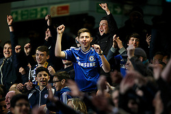 Chelsea fans cheer - Photo mandatory by-line: Rogan Thomson/JMP - 18/03/2014 - SPORT - FOOTBALL - Stamford Bridge, London - Chelsea v Galatasaray - UEFA Champions League Round of 16 Second leg.