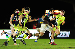 Alofa Alofa of Harlequins goes on the attack - Mandatory byline: Patrick Khachfe/JMP - 07966 386802 - 03/02/2017 - RUGBY UNION - The Twickenham Stoop - London, England - Harlequins v Sale Sharks - Anglo-Welsh Cup.