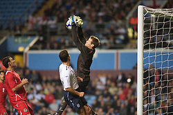 BIRMINGHAM, ENGLAND - Monday, October 13, 2008: Wales' goalkeeper Owain Fon Williams and England's Stephen Taylor during the UEFA European Under-21 Championship Play-Off 2nd Leg match at Villa Park. (Photo by Gareth Davies/Propaganda)