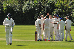 ROTHWELLS BOWLER DEAN SPREADBURY  CELEBRATES AFTER GETTING OUT SAINTS LIAM WATKINSON, ROTHWELL CRICKET CLUB v  NORTHAMPTON SAINTS  CC, Desborough  Road Rothwell  Saturday 25th June 2016