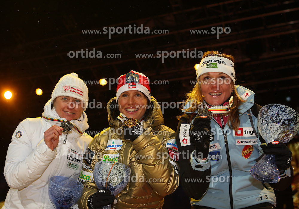 24/02/2011 OSLO 2011 - FIS NORDIC WORLD SKI CHAMPIONSHIPS .FOLLIS Arianna, BJOERGEN Marit, MAJDIC Petra MAJDIC .© Photo Pierre Teyssot / Sportida.com.