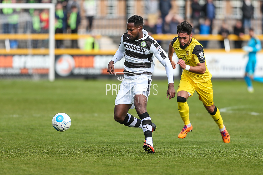 Forest Green Rovers Dale Bennett(6) on the ball during the Vanarama National League match between Southport and Forest Green Rovers at the Merseyrail Community Stadium, Southport, United Kingdom on 17 April 2017. Photo by Shane Healey.