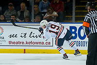 KELOWNA, CANADA - SEPTEMBER 22:  Orrin Centazzo #19 of the Kamloops Blazers passes the puck against the Kelowna Rockets on September 22, 2018 at Prospera Place in Kelowna, British Columbia, Canada.  (Photo by Marissa Baecker/Shoot the Breeze)  *** Local Caption ***