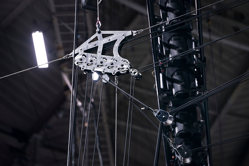 "High-capacity blocks and pulleys are seen in the rafters during rehearsal for ""Cirque du Soleil: CRYSTAL"" at the Alliant Energy Center in Madison, WI on Wednesday, May 1, 2019."