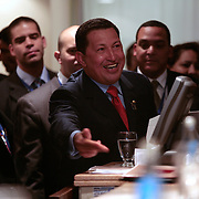 President of Venezuela Hugo Chavez jokes around with the media during the Summit of the Americas Friday, November 4, 2005, in Mar del Plata, Argentina...Photo by Khue Bui