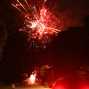 July 4, 2012.  Altamonte Springs, Florida residents launch fireworks on their residential street on July 4, 2012.