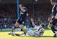 Photo: Ashley Pickering.<br />Southend United v Leeds United. Coca Cola Championship. 17/03/2007.<br />Richard Cresswell of Leeds (white) tackles Southend captain Kevin Maher