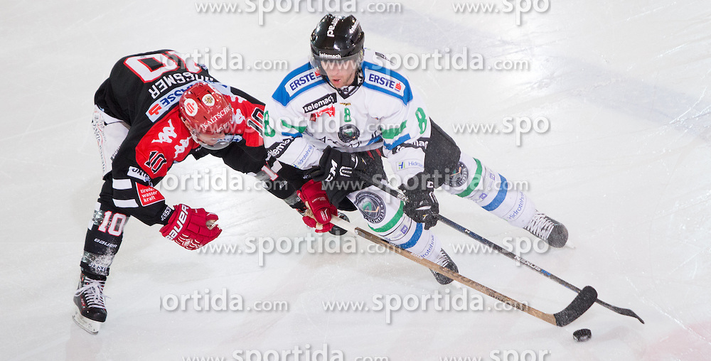 28.12.2015, Tiroler Wasserkraft Arena, Innsbruck, AUT, EBEL, HC TWK Innsbruck die Haie vs HDD TELEMACH Olimpija Ljubljana, 36. Runde, im Bild vl.: Partick Moessmer (HC TWK Innsbruck Die Haie), Roland Kaspitz (HDD Telemach Olimpija Ljubljana) // during the Erste Bank Icehockey League 36th round match between HC TWK Innsbruck  die Haie and HDD TELEMACH Olimpija Ljubljana at the Tiroler Wasserkraft Arena in Innsbruck, Austria on 2015/12/28. EXPA Pictures © 2015, PhotoCredit: EXPA/ Jakob Gruber