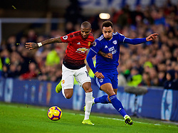 CARDIFF, WALES - Saturday, December 22, 2018: Manchester United's Ashley Young (L) and Cardiff City's Josh Murphy during the FA Premier League match between Cardiff City FC and Manchester United FC at the Cardiff City Stadium. (Pic by Vegard Grott/Propaganda)